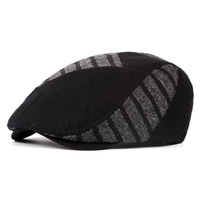 Autumn Winter Lovers Newsboy Hats Patchwork Striped Berets Knitted Fashion Flat Hats Caps For Men And