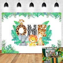 NeoBack Jungle Theme Background 1st Birthday Safari Animals Zoo Photo Backdrop Lion Elephant Boy Baby Party Banner