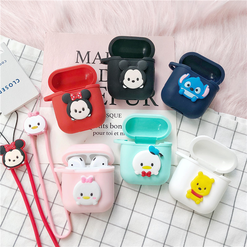 Newest Silicone Case With Strap For Apple Airpods Shockproof Cover For Apple AirPods Earphone Cases Cute Air Pods Protector Case