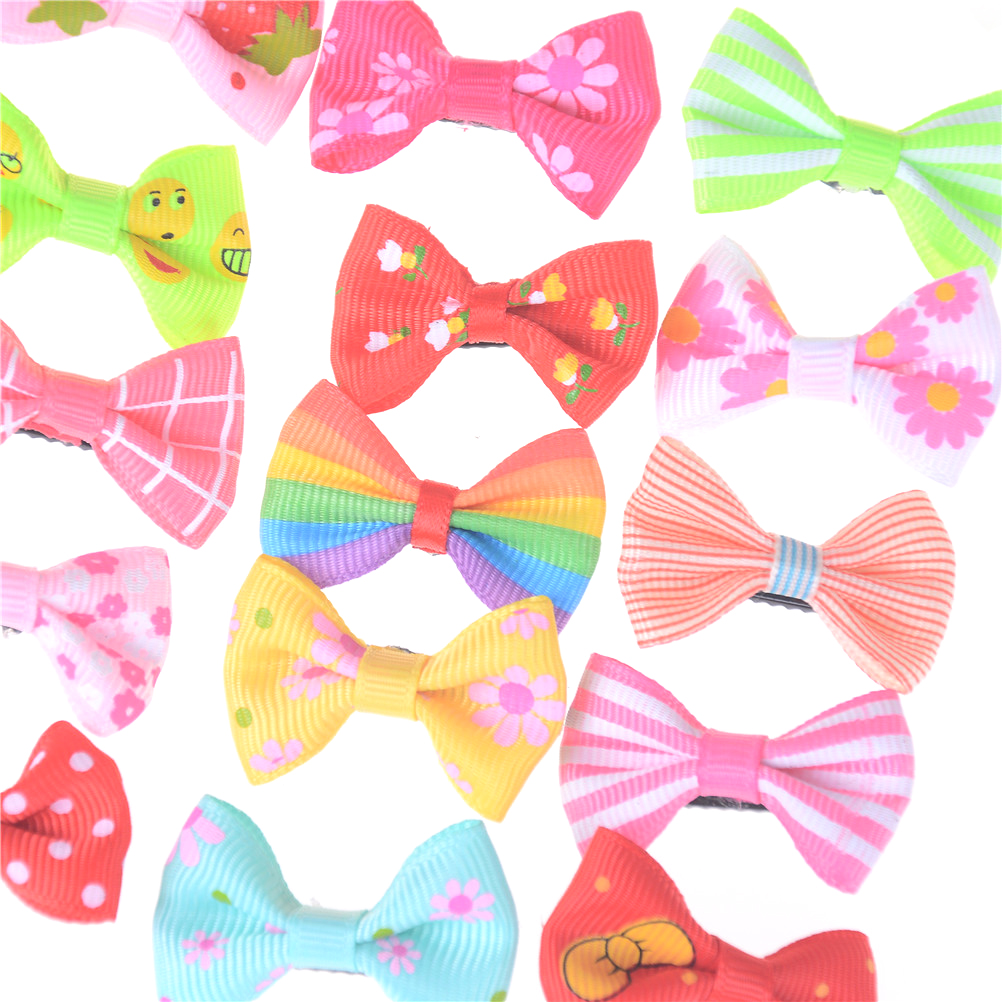 10pcs/lot Ribbon Hair Clip Colorful Barrettes Hairgrip Headwear Pet Dog Bows Girls Dog Hairpins Hair Accessories