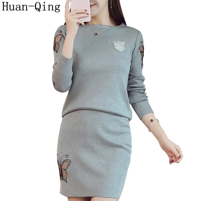 0691dfe540c Knitting Two-Piece Set Sweater Dress Women Hollow Out Designer Long Sleeve  Pull Femme Fashion Package Hip Sweater Dress 4 Colors