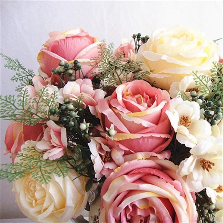 Artificial peony flower bouquet spring silk / fake flower living ...