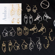 Punk Human Earrings for Women Face Crystal Fashion Jewelry Trend Abstract Art Statement Hand Metal Cool 2019
