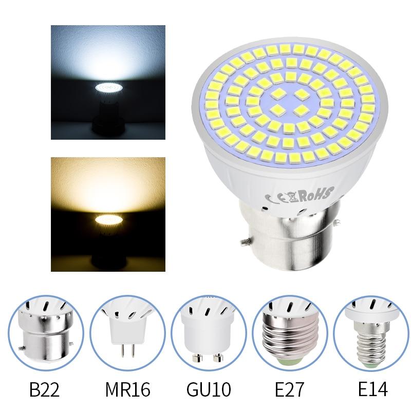 220V GU10 LED Lamp E14 LED Bulb 230V E27 LED Spot Light Bulb 5W 7W 9W GU5.3 Desk Lamp Spotlight B22 Ampoule Led Maison 2835 SMD