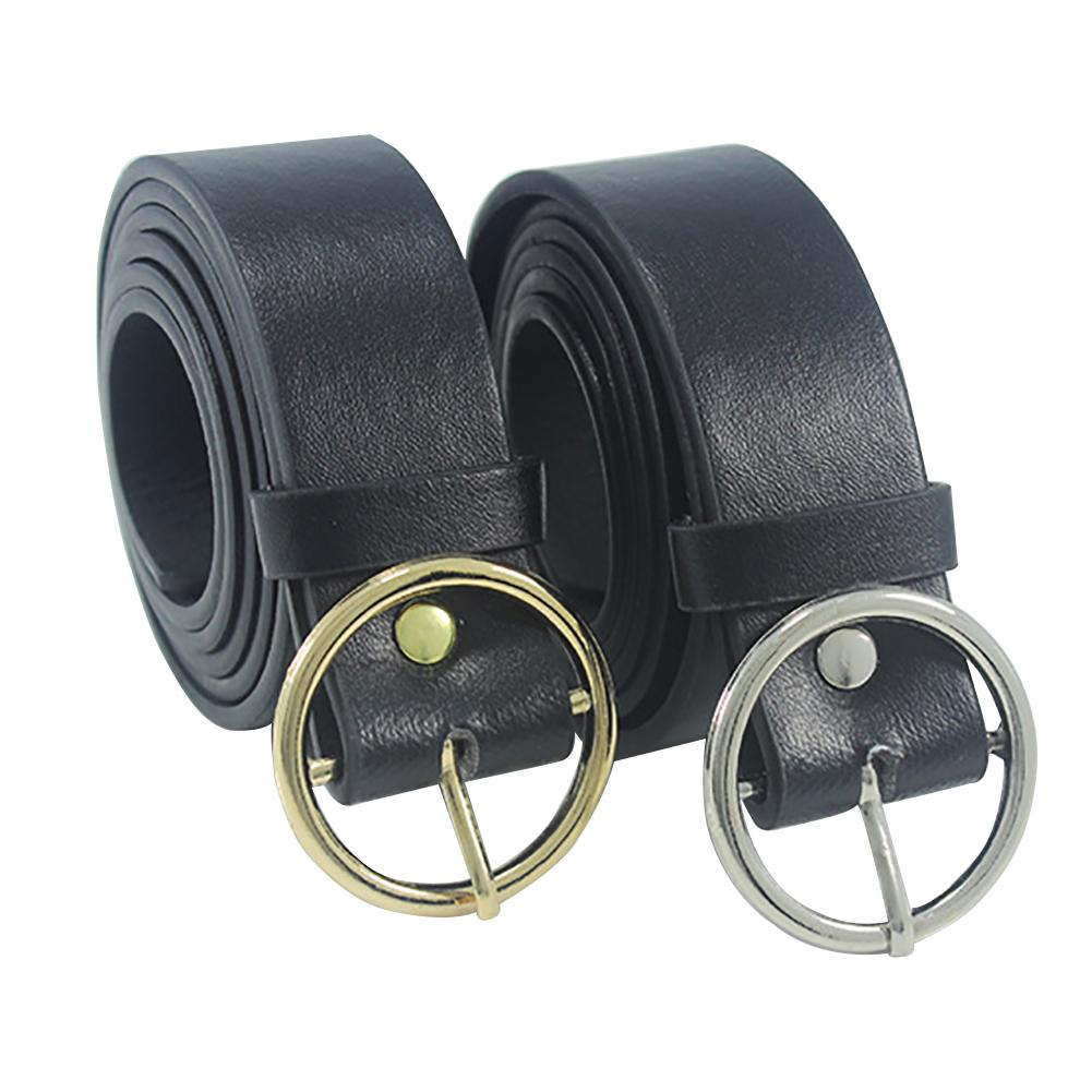 2018 Newest Triangle Round Buckle   Belts   Female HOT Leisure Jeans Wild   Belt   Metal Buckle Black Strap   Belt   For Women