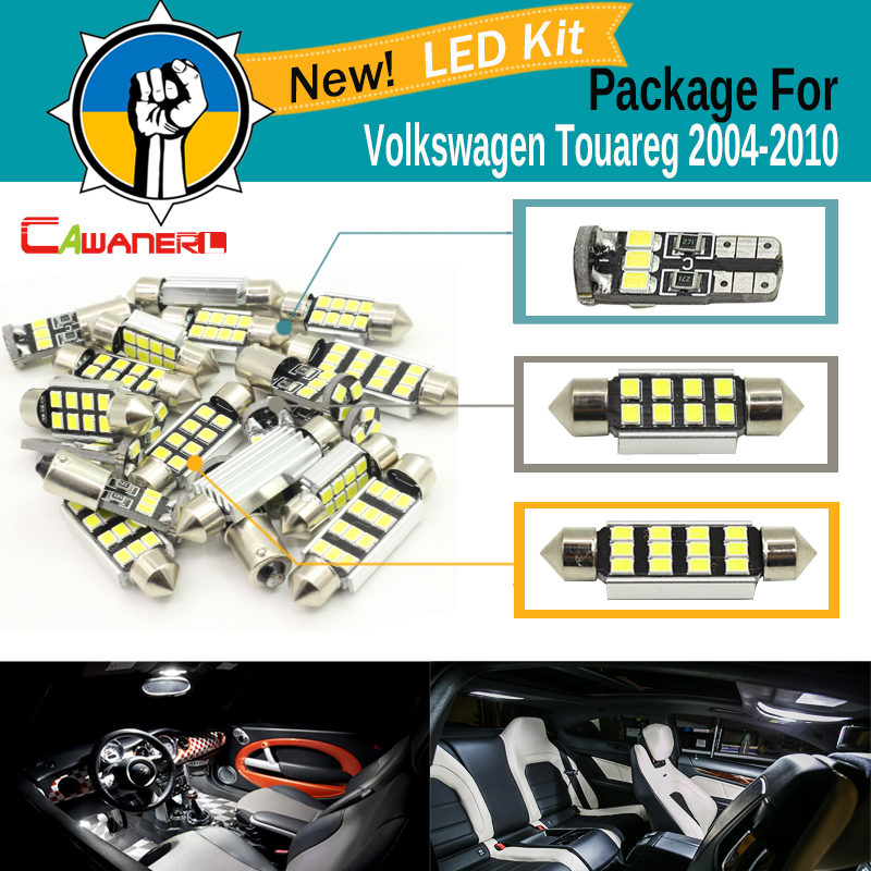 Cawanerl Car 2835 SMD Interior Dome Map Trunk Door Light White For VW Volkswagen Touareg 2004 2010 Auto Canbus LED Package Kit