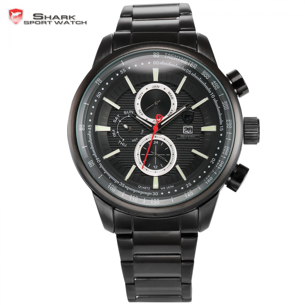Gummy Shark Sport Watch Fashion Tag Black 3D Dashboard Date Day Calendar Hours Waterproof + Box Quartz Mens Outdoor Clock/ SH370 blacktip shark sport watch cool black 6 hands dashboard 24hr date day mens outdoor quartz stainless steel band wristwatch sh397