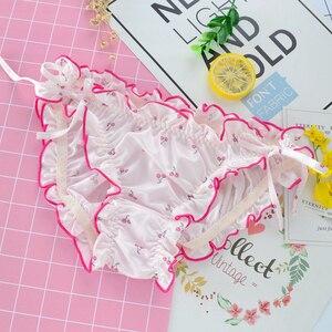 Японские трусики Leechee для девочек, вязаные дышащие трусы с принтом и низкой талией, треугольное нижнее белье