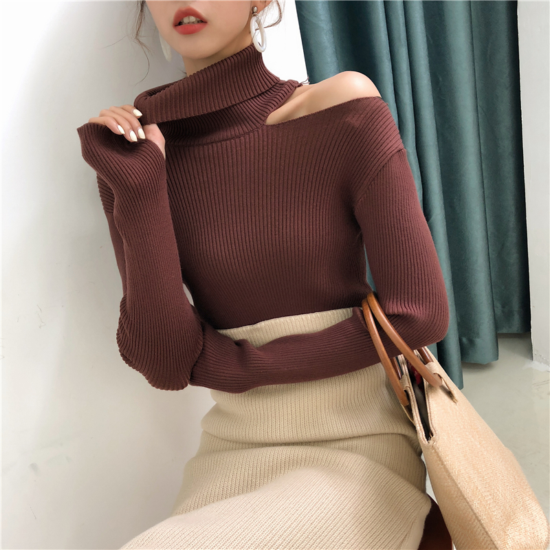 Colorfaith Women Pullovers Sweater 19 Knitting Autumn Winter Turtleneck Sexy Hollow Out Off Shoulder Casual Ladies Tops SW755 20