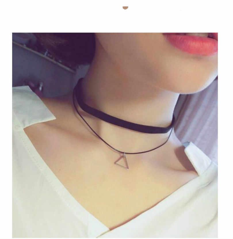 Nowa moda biżuteria proste geometria komunikat naszyjnik podwójne powierzchni trójkątny wisiorek naszyjnik kobiet elegancki naszyjnik