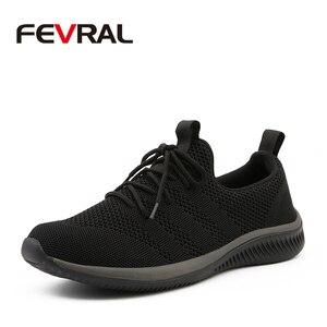 Image 1 - FEVRAL, nuevos zapatos informales de malla para hombres, zapatos con cordones para hombres, cómodos y ligeros, zapatillas de moda transpirables, zapatos de alta calidad para hombres