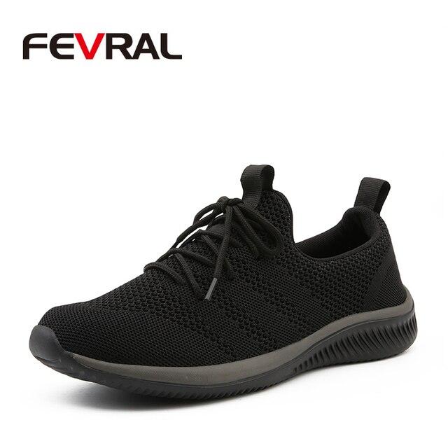 FEVRAL, nuevos zapatos informales de malla para hombres, zapatos con cordones para hombres, cómodos y ligeros, zapatillas de moda transpirables, zapatos de alta calidad para hombres
