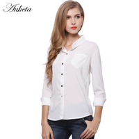 Auketa Fashion Stand Collar Chiffon Shirts Women White Solid Candy Color Blouses Woman Full Sleeve Basic Shirt 2017 New Arrival