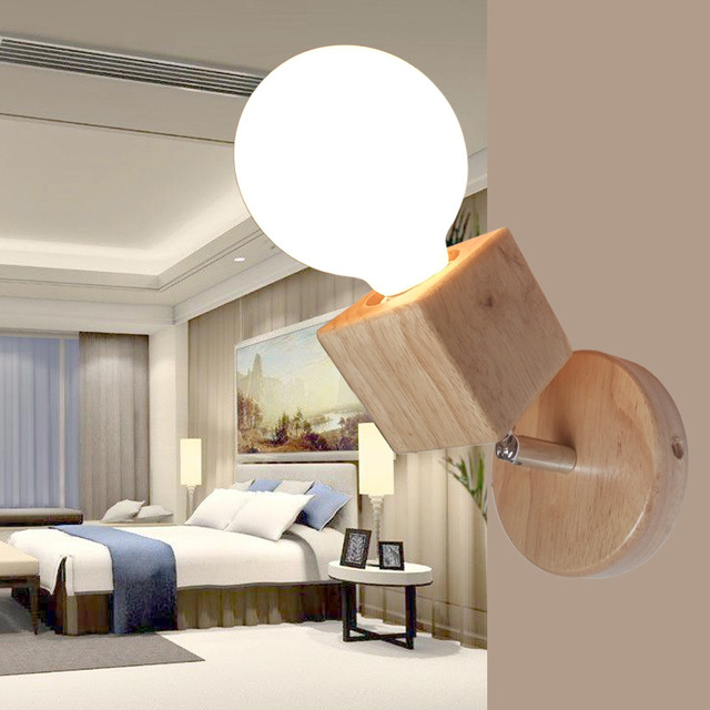 Modern Wall Lamps Bedroom Lights Oak Wood Adjule Sconce Bedside Mounted Lighting Home