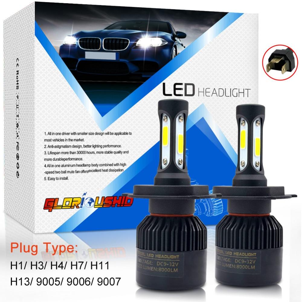 72W 8000LM H7 H4 <font><b>LED</b></font> H11 H1 H3 H13 9005 9006 9007 Car <font><b>LED</b></font> Headlight COB Chip Auto light Fog Lamp Bulb 6500k Pure White