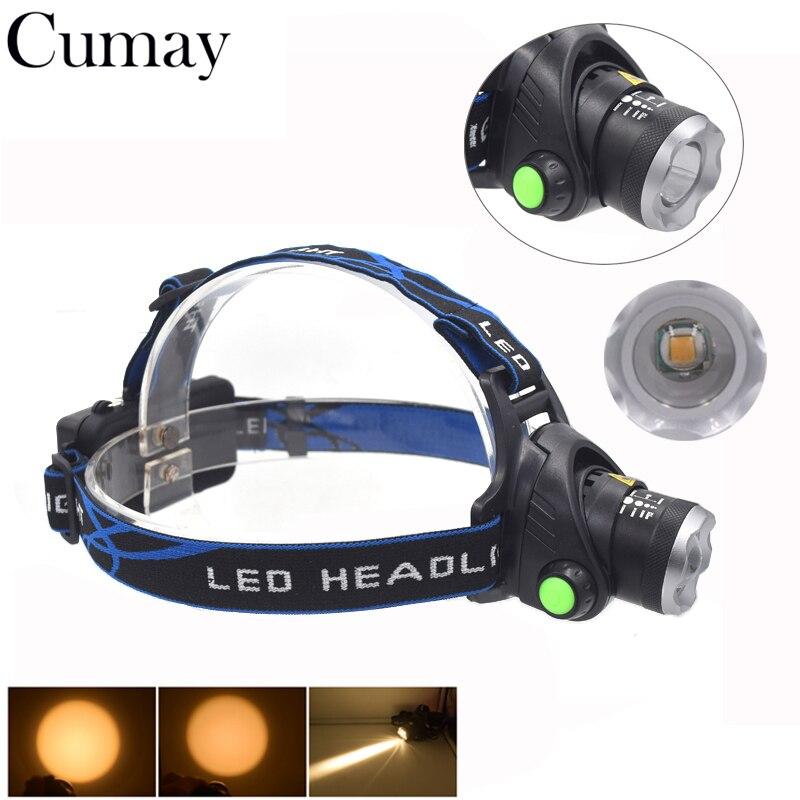 все цены на 2000 Lumens Warm White LED Headlamp Headlight XPE linterna cabeza 3 Mode Torch Head 18650 Zoomable Camping lampe frontale онлайн