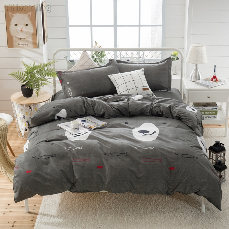 Gray Bear Face Bedding Set Modern Cotton Bed Linens Bedclothes for Adult Kids Duvet Cover Flat Sheet Pillowcases Twin Queen King