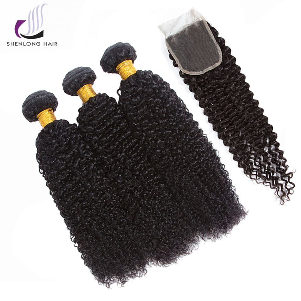 SHENLONG HAIR 100% Malaysian Kinky Curly Human Hair Weave 3 Bundles With 4*4 Lace Closure Non Remy Natural Color Hair