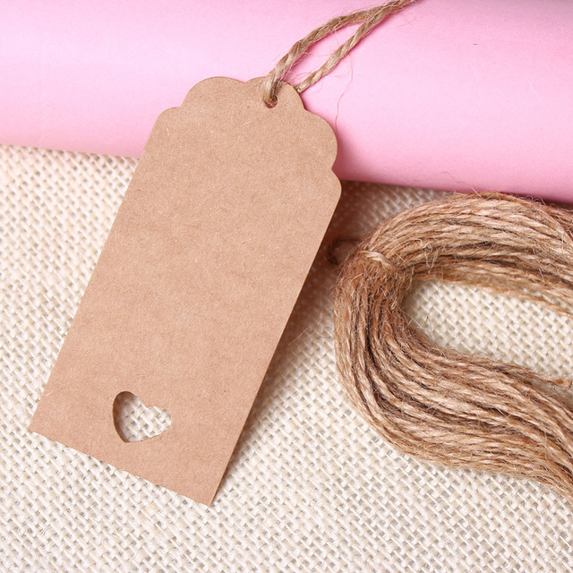 Aliexpress.com : Buy Wedding Kraft Hang Tags Brown Paper Party Favor Punch Label Price Gift ...