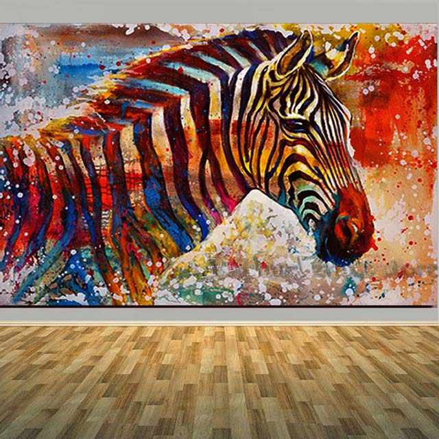 Large Handpainted Modern Abstract Colorful Zebra Oil Painting On Canvas Zebra Animal Art Wall Picture For Living Room Home Decor