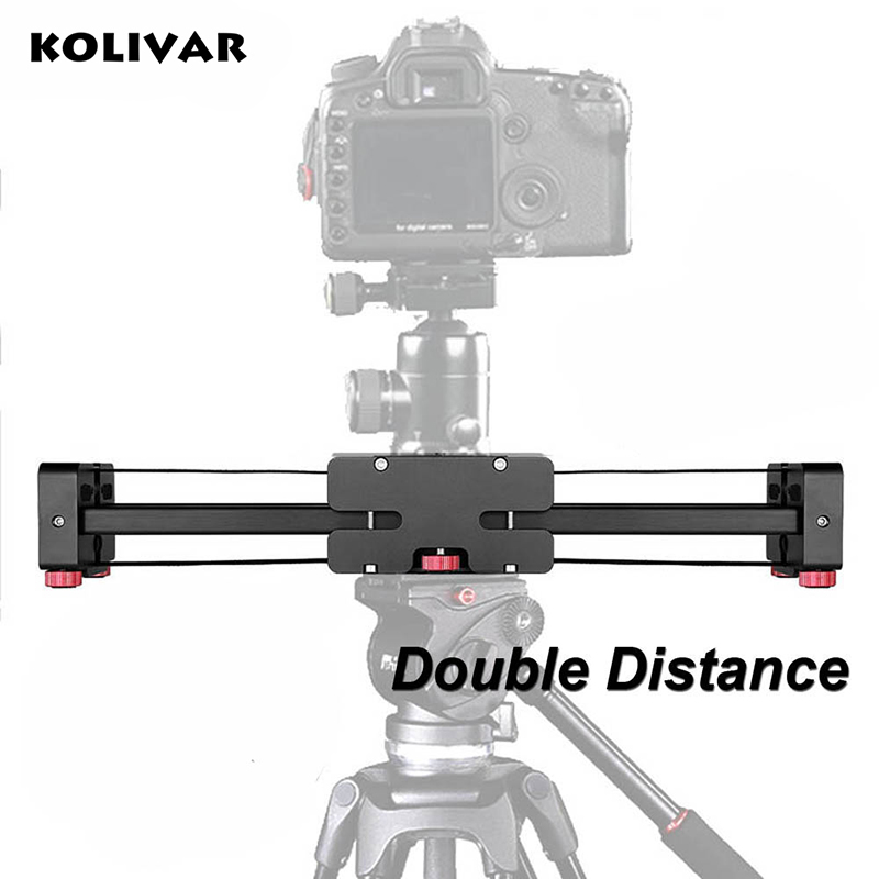 KOLIVAR Pro 500mm Alu Extendable Double Travel Distance Track Dolly Rail DSLR Video Slider for Canon Nikon Sony Camera Camcorder цена и фото