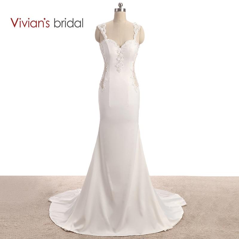 Vivians Bridal Sweetheart Cap Sleeve Lace Satin Wedding Dress Mermaid See Through Backless Wedding Gown