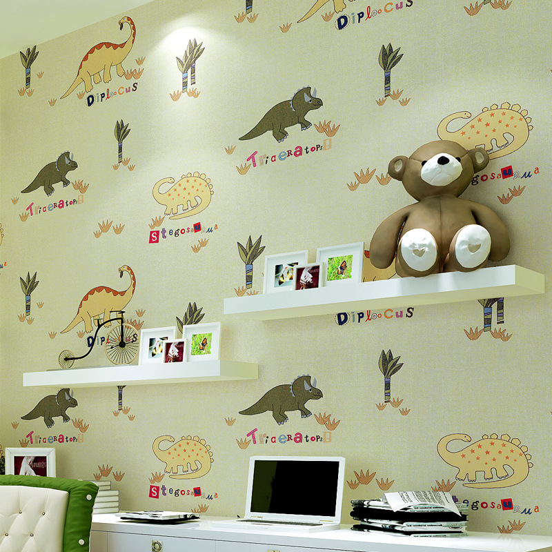 beibehang Children 's room dinosaur pattern non - woven environmental formaldehyde - free children' s room full of wallpaper beibehang environmental non woven boy girl warm cartoon children s room blue sky clouds balloon wallpaper