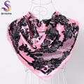 BYSIFA Pink Letter Silk Scarf Cape 90*90cm Brand Luxury Letter Satin Scarves Wraps Autumn Winter Brightly Colored Scarf Shawl