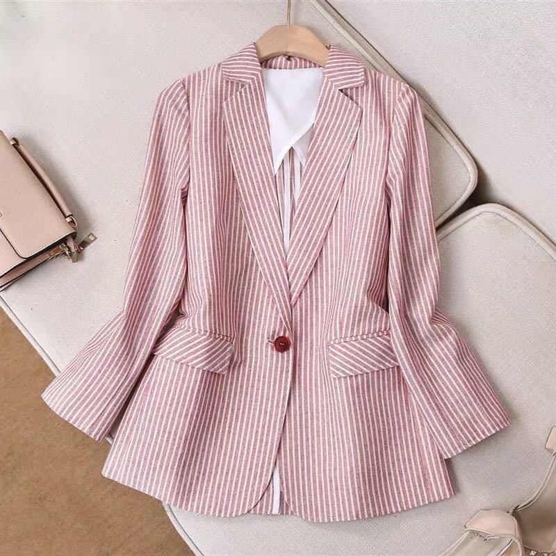New Spring Summer Women Linen Stripe Blazers And Suit Jackets Female Breathable Cotton And Linen Blazer Femenino Ladies Blazer