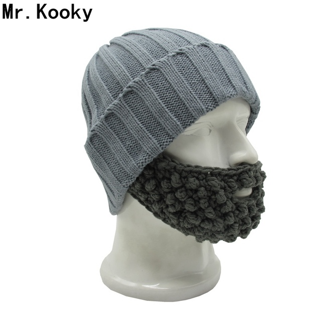 59c36a94193 Mr.Kooky Novelty Men s Winter Mustache Hats Beard Beanies Bicycle Mask  Funny Ski Face Warm Caps New Gag Birthday Party Cool Gift