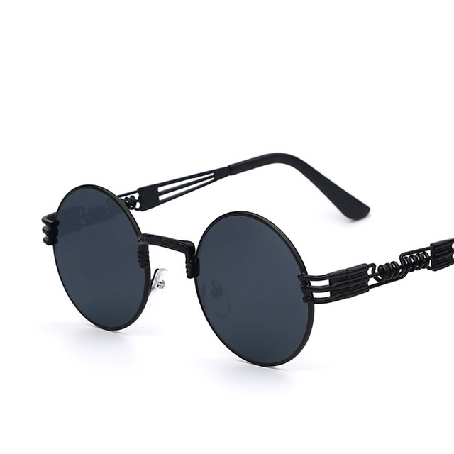 Luxury Metal Sunglasses Women Round Sunglass Steampunk Coating Glasses Vintage Retro Outdoor