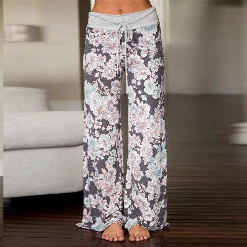 High Waist Wide Leg Pants Women Lounge Palazzo Trousers Sweatpants Floral Print Pantalon Mujer Femme Long Pants Plus Size 3XL