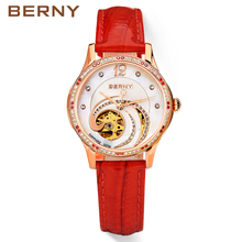 BERNY Skeleton Automatic Mechanical Watches Women Brand Rose Gold Ladies Leather Diamond Sapphire Auto Mechanical Watches AM078L