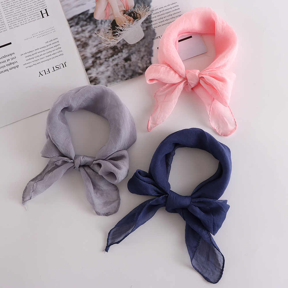 Fashion Women Square Scarf Silk Wraps Elegant Floral Spring Summer Head Neck Hair Tie Solid Color Neckerchief 2018 New Type