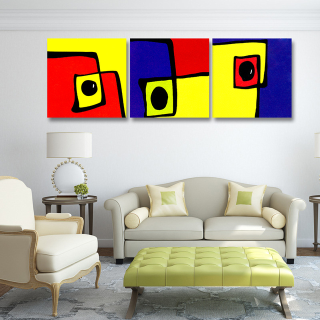 Free Shipping Canvas painting Oil Painting 3 Pieces Modern Abstract Geometry Wall Pictures Wall Decor No Frame Cuadros De Lienzo