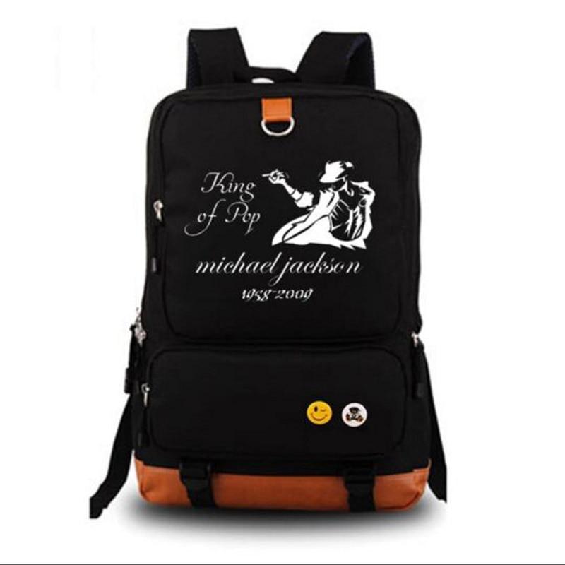 Michael Jackson King of Pop Men Women Shoulder School Rucksack Backpack Black Bag Book Bag michael jackson black and white cover gold black l