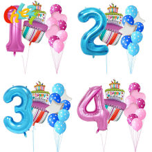 40 inch Pink Blue Number 1 2 3 4 5 year Birthday cake Balloons Baby Boy Girl 1st Party Decor Supplies Dot latex helium globos(China)