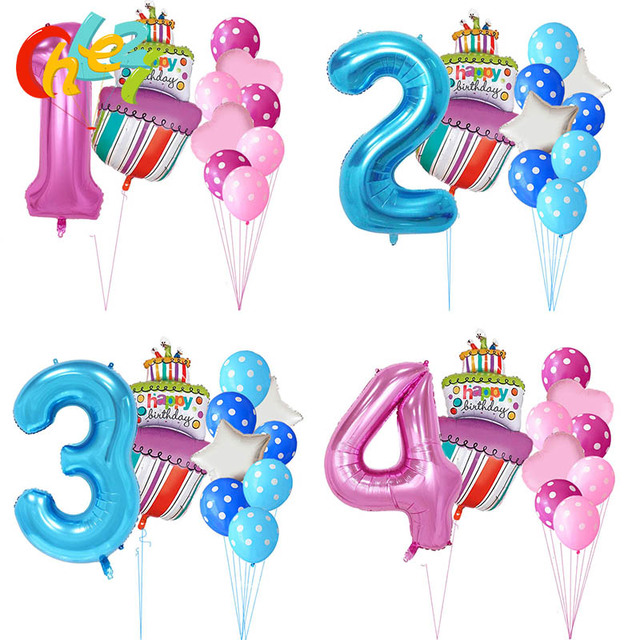40 Inch Pink Blue Number 1 2 3 4 5 Year Birthday Cake Balloons Baby Boy Girl 1st Party Decor Supplies Dot Latex Helium Globos