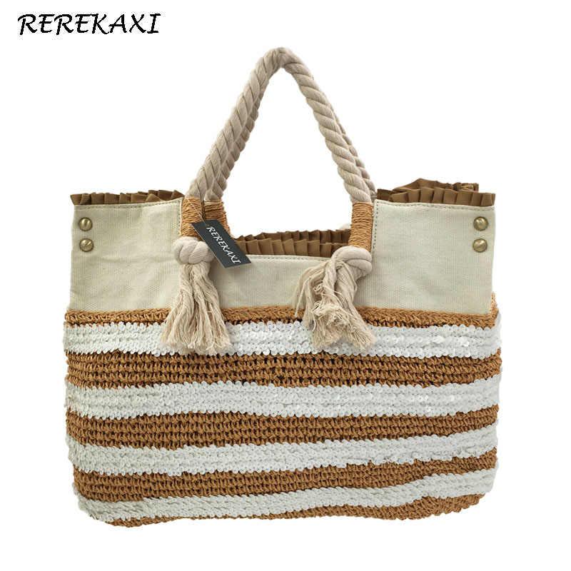 6d782ccbc7df REREKAXI Новый Повседневное соломы ручной работы пляжная сумка для женщин  тканые путешествия покупки Bolsos сумки для