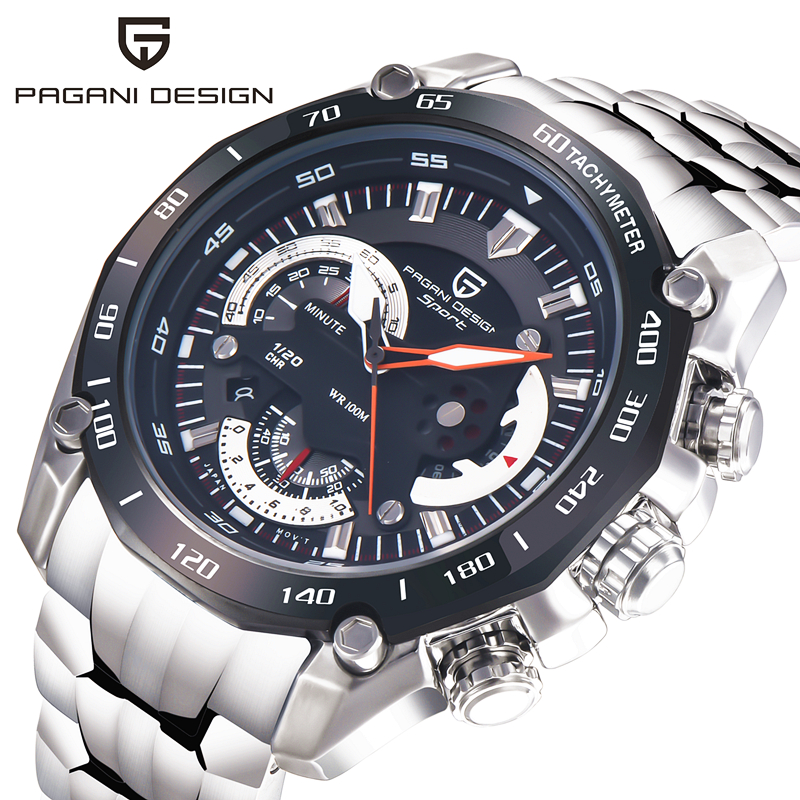 Original Brand PAGANI DESIGN Fashion Sport Military Watches Men Waterproof Multifunction Quartz Watch Men Relogio Masculino 2017