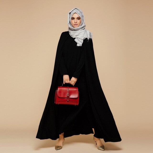 2016 Новое Прибытие Исламская Черный Плащ Abayas Мусульманин Длинное Платье Для Женщин Малайзии Дубай Турецкая Женской Одежды Высокого Качества Халат