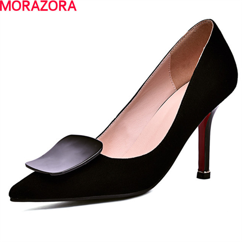 MORAZORA  popular fashion spring autumn party shoes woman stiletto high heels pointed toe hot sale women pumps size 34-39 wholesale lttl new spring summer high heels shoes stiletto heel flock pointed toe sandals fashion ankle straps women party shoes