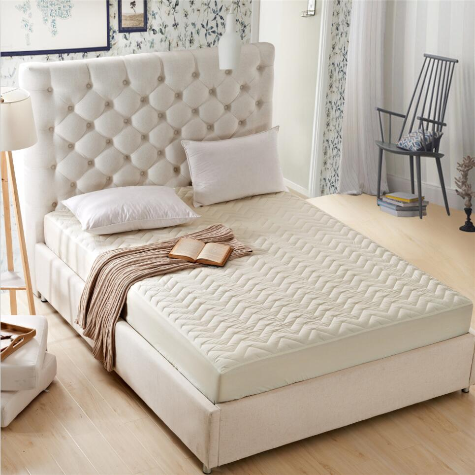 Sunnyrain 1 Piece Solid Color Polyester Quilted Ed Bed Sheet Queen Size Mattress Protector Cover Pocket Depth 25cm In From Home Garden
