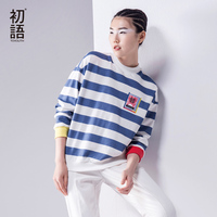 Toyouth Autumn New T Shirts Women Striped Long Sleeve O Neck Loose Cotton Tees Lady Fashion