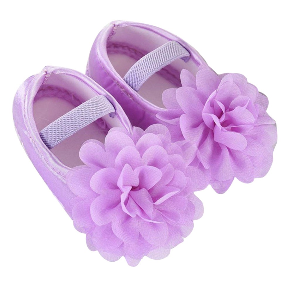 1 Pair Violet Color Cute Toddler Shoes Baby Flower Pink Soft Walking Shoes Newborn Chiff ...