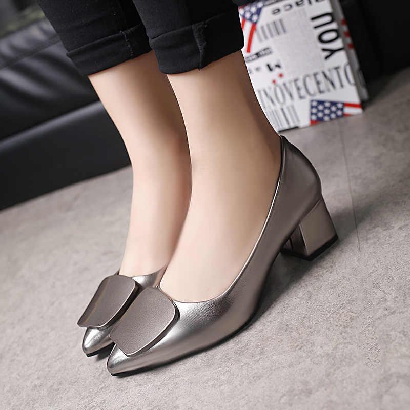 2020 bahar kadın Med topuklu tekne ayakkabı Gun renk sivri burun pompaları kare topuklu rugan bayan ayakkabı zapatos mujer 34-40