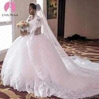 Robe De Mariee V Neck Lace Ball Gown Wedding Dress Chapel Train Abiti Da Sposa Wedding Gowns with Lace Appliques Trouwjurk
