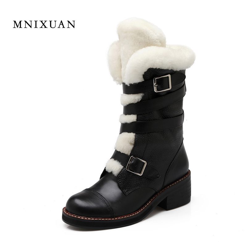 MNIXUAN Winter boots warm wool snow boots 2017 handmade high quality genuine leather mid-calf women shoes heels 5cm big size 10 high quality genuine leather mid calf boot winter slip on warm snow boots women suede thick sole platform invisible wedges shoes