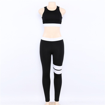Women's Fitness Suits Cropped Tank Workout Bra Top And Legging Pants 2 Pieces Set Fashion Female Red Striped Sexy Tracksuit 4