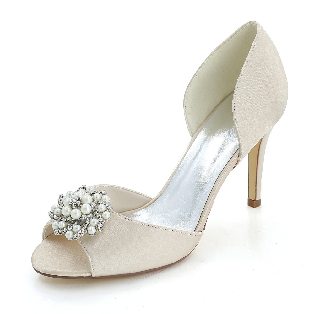 Creativesugar satin D'orsay pearl rhinestone charm open toe woman shoes bridal wedding party elegant dress separate pumps heels luxurious elegant ivory pearl wedding party dancing shoes bridal shoes pointed toe kitten heeled shoes woman lady dress shoes